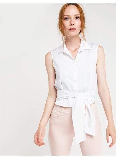 Love'n Fashion Paris Belden Bağlama Detaylı Kolsuz Gömlek Beyaz